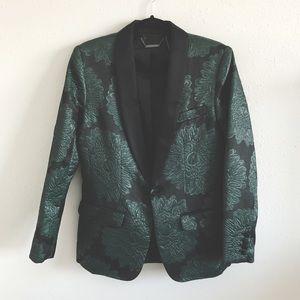 Trina Turk Black & Green Floral Blazer